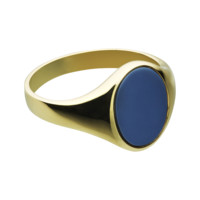 Gents seal ring with banded stone in yellow gold, small | Seal rings RenéSim