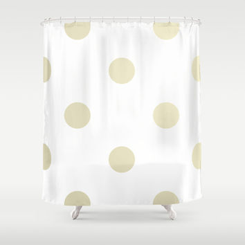 Gold Dots Shower Curtain by Nicole Davis