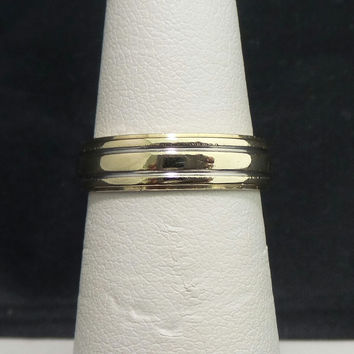 Solid 14K Two-tone Yellow White Gold 5mm Polish Wedding Band - Size 5.5