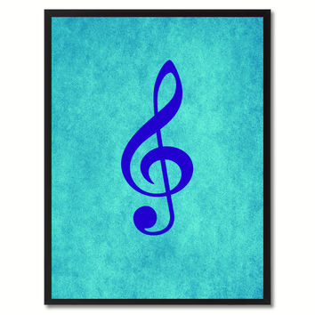 Treble Music Aqua Canvas Print Pictures Frames Office Home Décor Wall Art Gifts