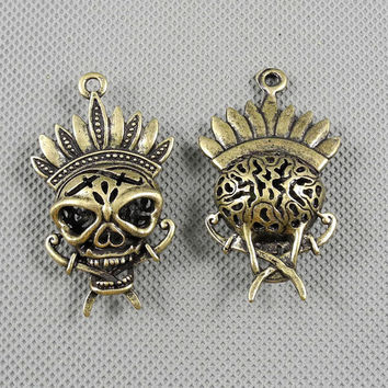 1x Making Jewellery Supply Supplies Antique Fermoir Jewelry Findings Charms Schmuckteile Charme 4-A2023 Hollow Skull