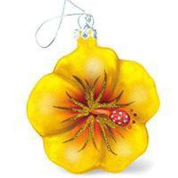 "Hand Painted Glass ""Yellow Hibiscus"" Ornament"