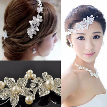 Luxury Silver Rhinestone Bridal Wedding Flower Pearls Headb  Hair Clip Comb Women Jewelry  SM6