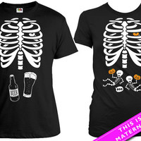 Matching Halloween Couple Shirt Twin Pregnant Skeleton T Shirt Beer Skeleton Ribcage Shirt Halloween Pregnancy Announcement Tee MAT-166-82