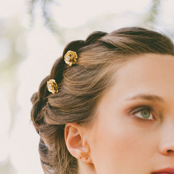 Gold Flower Hair Pins Flower Bobby Pins Flower Hair Clips Flower Hair Accessories Bridal Hair Accessories Woodland Weddings Nature Autumn