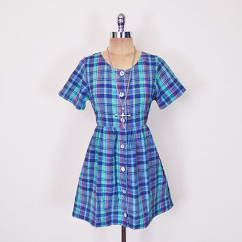 Vintage 90s Blue Plaid Dress Plaid Babydoll Dress 90s Babydoll Mini Dress Button Up Down 90s Dress 90s Grunge Dress Women XS Extra Small S