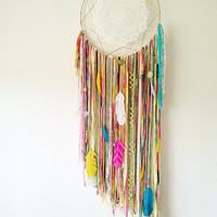 MADE TO ORDER Bright Colorful Rainbow Dreamcatcher w/ Doily, Feathers, Pretty Charms on a 19 inch Hoop.
