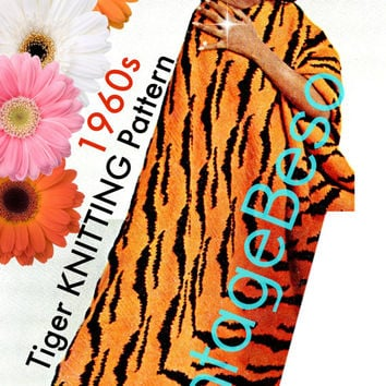 Afghan KNITTING Pattern Vintage 1960s Tiger Knitting Pattern Instant Download Printable PdF Pattern