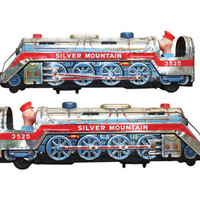 Vintage Genuine 50s Silver Mountain 3525 Train Tin Metal Toy | 1950s Transportation Toys Nostalgia Litho Mid Century