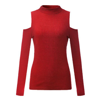 2017 Women Knitted Sexy Sweaters Ladies Off Shoulder Vintage Turtleneck Long Sleeve Pullovers Casual Solid Rib Jumpers Knitwear