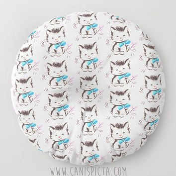 Retro Kitten Floor Pillow Cute Round Square Cat Classic Vintage Card Decorative Cover Art Blue Pink White Fun Black Grey Kitty Cushion Bow