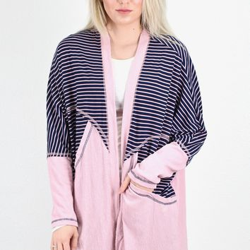 Old School Stripes + Solid Contrast Cardigan {Navy}