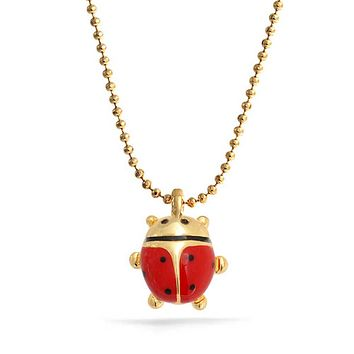 Red Ladybug Small Enamel Pendant Gold Tone Plated Necklace 16 Inch