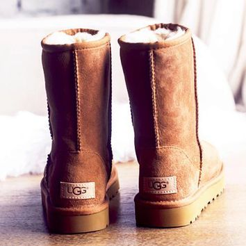 UGG Short boots antiskid warm lazy sheep fur simple ugg boots canister boots (5-color) Brown