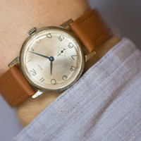 Retro men's wristwatch ZIM minimalist watch shiny beige face gent's accessory dude watch premium leather strap new