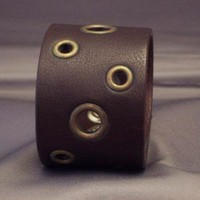 Wide Riveted Leather Cuff Bracelet by WireNWhimsy on Etsy