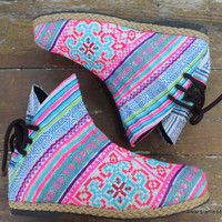Funky Womens Ankle Boots Ethnic Hmong Embroidered In Pink and Blue