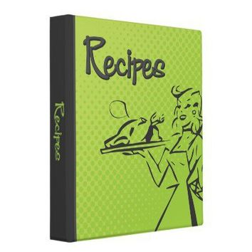 Retro Recipe Binder - Lime Green from Zazzle.com