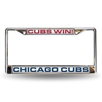 Chicago Cubs MLB Chrome Metal Laser Cut License Plate Frame