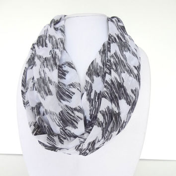 Infinity Scarf, Summer Scarf, Black White Scarf, Houndstooth Scarf