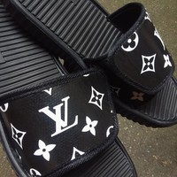 LV Inspired Black & White Louis Vuitton Slides - Flip Flop - Sandals