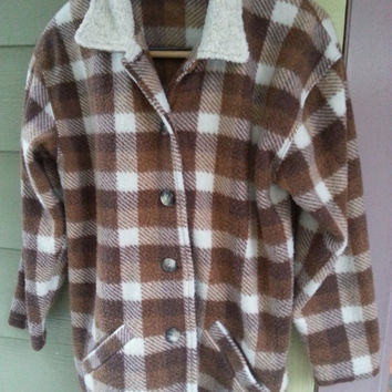 Vintage 90s Grunge Brown Plaid Fleece Jacket Shearling Collar Size S