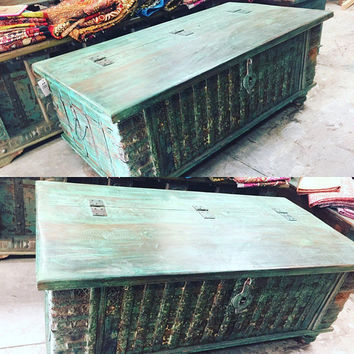 Vintage Trunk Blue Distressed Natural Wood Bench Table CONSOLE Chest Old Pitara Rustic Farmhouse Design Coffee Table