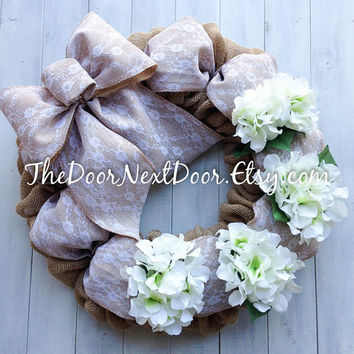 Lace Burlap Wreath - Spring Wreath - Floral Wreath - Wedding Wreath