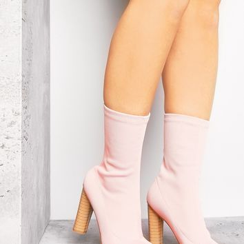 PINK KNITTED SOCK BOOTS