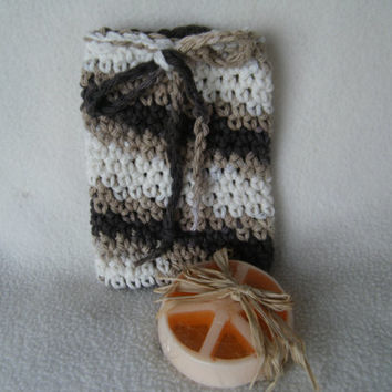 Crocheted Drawstring Soap Saver Pouch/Bag in Hot Cocoa
