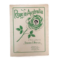 Vintage Sheet Music - Rose in Australia-Love-1920's - Love Song-Vintage Graphics-Scrapbooking-Musical-Vaudeville-Art Supply-Musical Notation