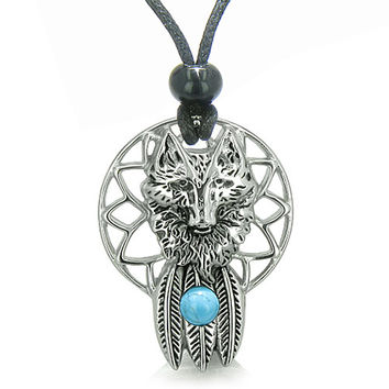 Dreamcatcher Wolf Feathers Moon Powers Simulated Turquoise Crystal Pendant Necklace