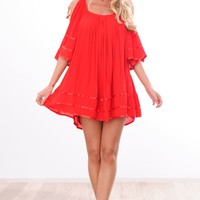 HelloMolly | Lola Dress Red - Off-shoulder sleeves red flowy boho style dress