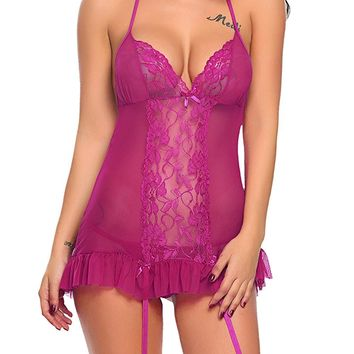 Mesh Chemise Sleepwear With Garter Belts Sexy Lingerie Lace Babydoll