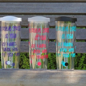 Vino2go tumbler, yoga cup, wine to go cup, personalized tumbler, acrylic wine cup, plastic wine cup, bachelorette party, stocking stuffer