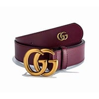 GUCCI Fashionable Woman Men GG Smooth Buckle Leather Belt Burgundy