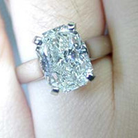 3.65ct Cushion Cut Diamond Engagement Ring cushion D-SI1 EGL certified JEWELFORME BLUE