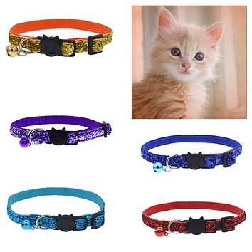 Fashion Glitter Cat Kitten Collar with Bell Safety Buckle Adjustable Pet Supply