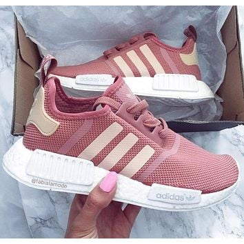 Adidas NMD Classic Popular Women Men Leisure Running Sports Shoes Sneakers Pink I/A