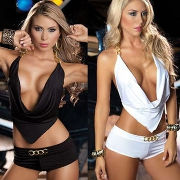 Women's Fashion Lingerie Halterneck Metal O-ring Top + Boyshorts Clubwear Stripper = 1932177668