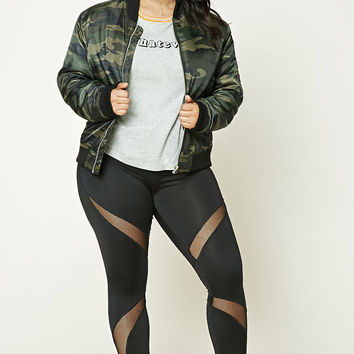 Plus Size Mesh Paneled Leggings