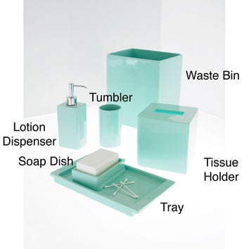 Solid lacquer light blue bath accessory from overstock for Pale blue bathroom accessories