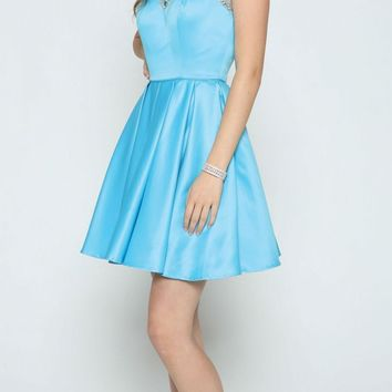 Sleeveless Short Prom Dress Beaded Illusion Neckline Turquoise