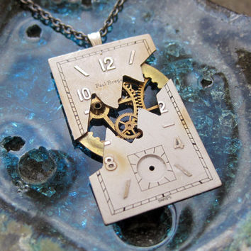"""Watch Dial Pendant """"Fault"""" Reconstructed Watch Parts Necklace Recycled Upcycled Gear Art Steampunk by A Mechanical Mind"""