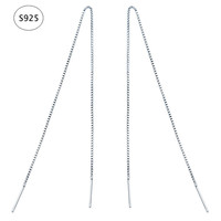 Minimalist Ear Thread Earrings 925-Sterling-Silver Long Chain Earrings for Women Delicate Silver Bar Earrings Threader New