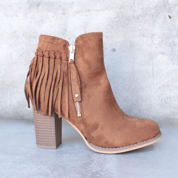 City Chic Fringe Vegan Suede Ankle Boot   Camel