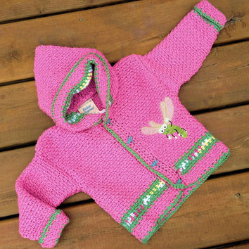 Children's Sweater Hoodie ( Handmade Crochet dragonfly baby sweater with hood ) - size 2