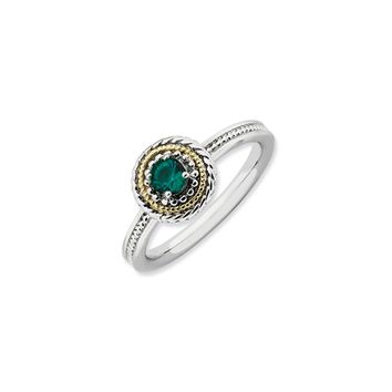 Sterling Silver & 14K Gold Plated Stackable Created Emerald Ring