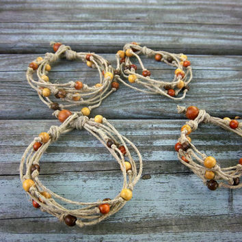 Upcycled Bracelet Hemp Bracelet Multi Strand Bracelet Wooden Beaded Bracelet Ecofriendly Bracelet Hippie Boho Bohemian Gypsy Jewelry