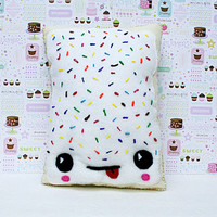 Breakfast Pastry Pillow, Toaster Pastry, Rainbow Sprinkles, Kawaii Food Pillow, Decorative pillow